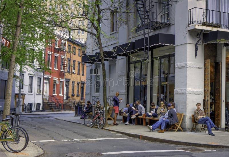 Straatscène, het Dorp van Greenwich, New York stock afbeeldingen