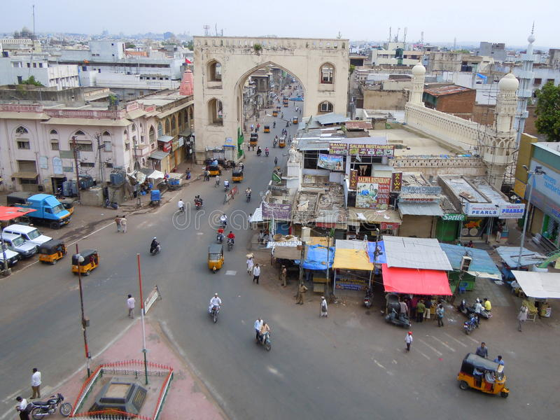 Straatscène in Hyderabad stad royalty-vrije stock fotografie
