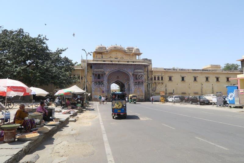 Straatscène in Jaipur, India stock foto's