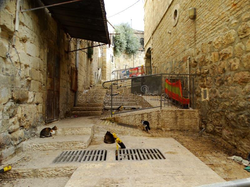 Straatscène van Bethlehem, Palestina Israël stock foto's