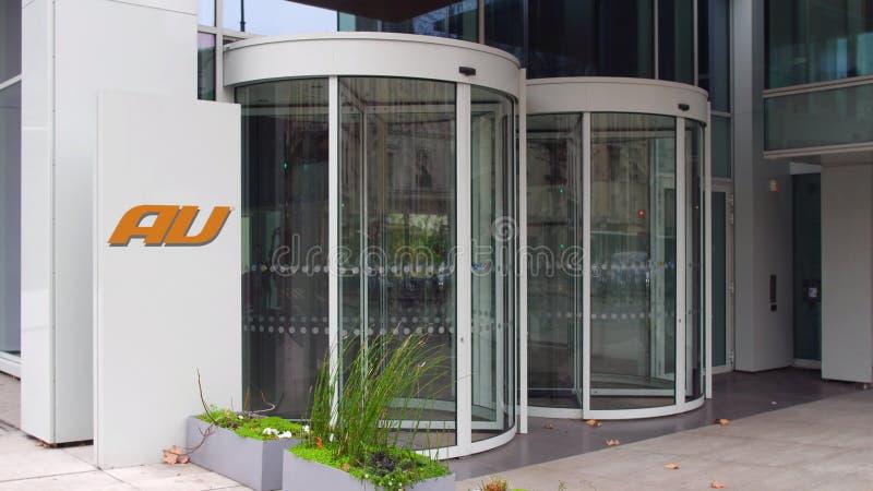 Straatsignage raad met embleem van het de telefoonbedrijf van Au het mobiele De moderne bureaubouw Het redactie 3D teruggeven stock foto