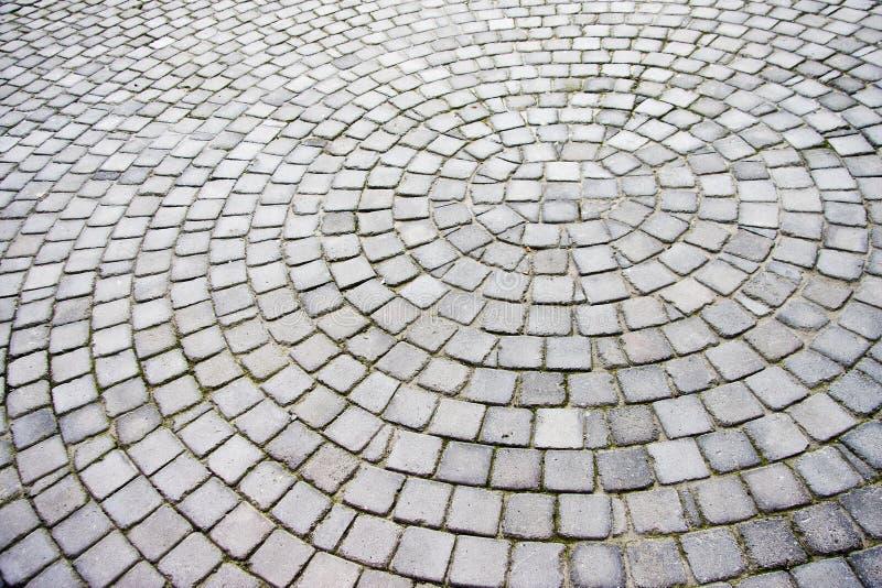 Straatstenen die in een radiaal patroon worden opgemaakt royalty-vrije stock afbeelding