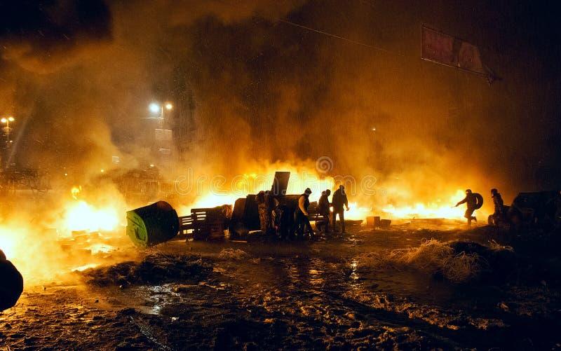 Straatstrijden in Kyiv, de Oekraïne stock foto's