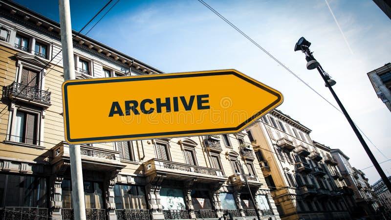 Straatteken aan Archief stock afbeelding