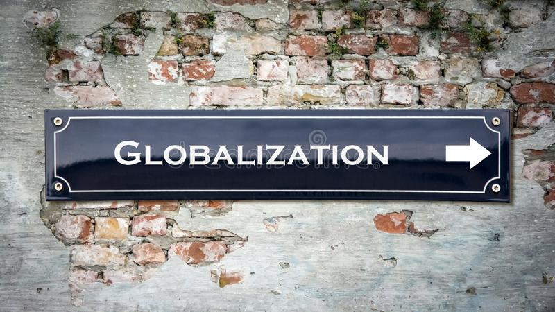 Straatteken aan Globalisering stock fotografie