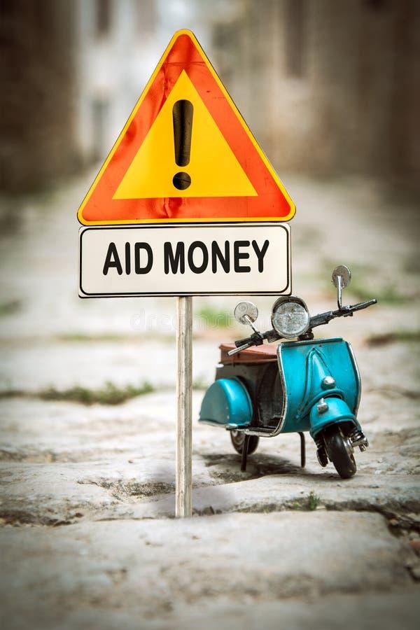 Straatteken aan Hulpgeld stock foto