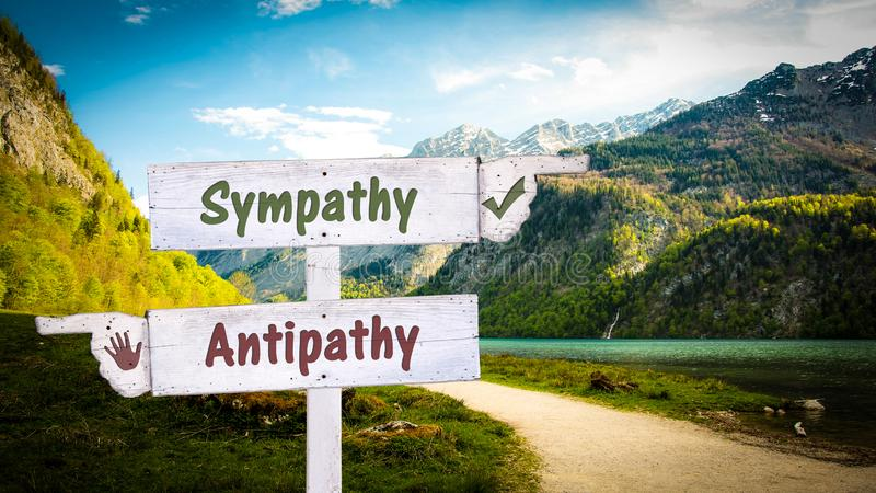 Straatteken aan Sympathie tegenover Antipathie royalty-vrije stock foto's