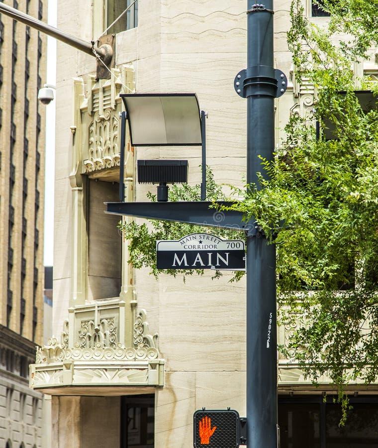 Straatteken Main Street Binnen De Stad In Stock Foto's