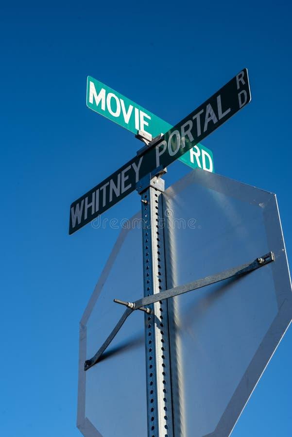 Straatteken voor de plaatsen van de Filmweg van Hollywood Westerns stock fotografie
