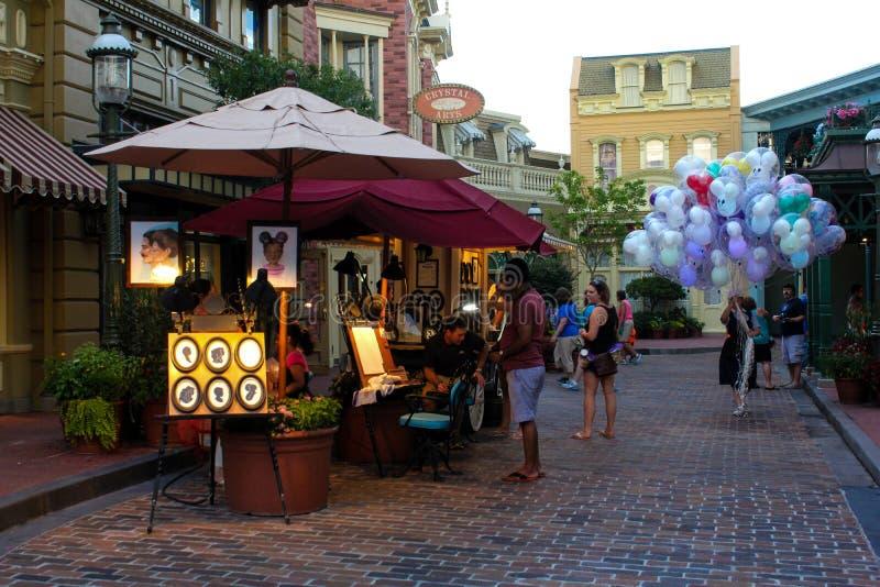 Straatventers van een zijstraat in Walt Disney World stock afbeelding