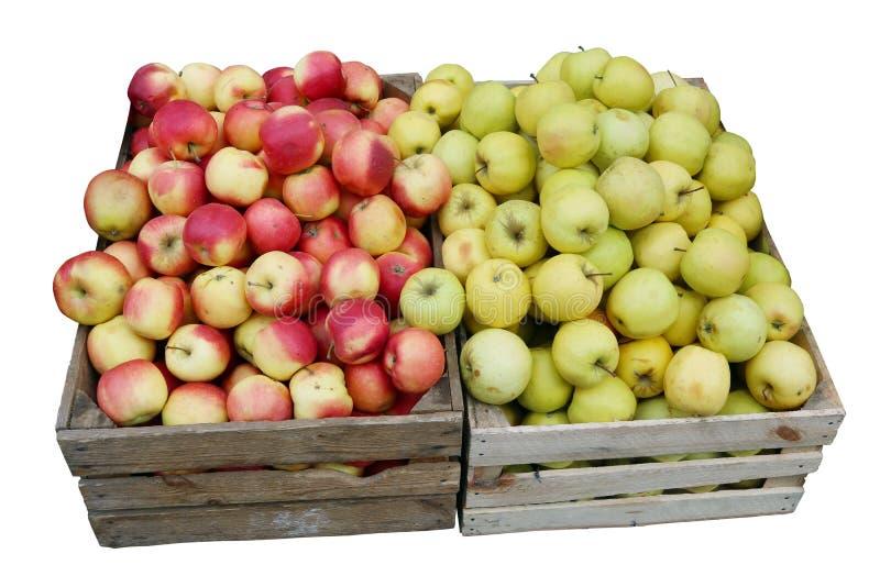 Straatverkoop van verse groene en rode appelen royalty-vrije stock afbeeldingen