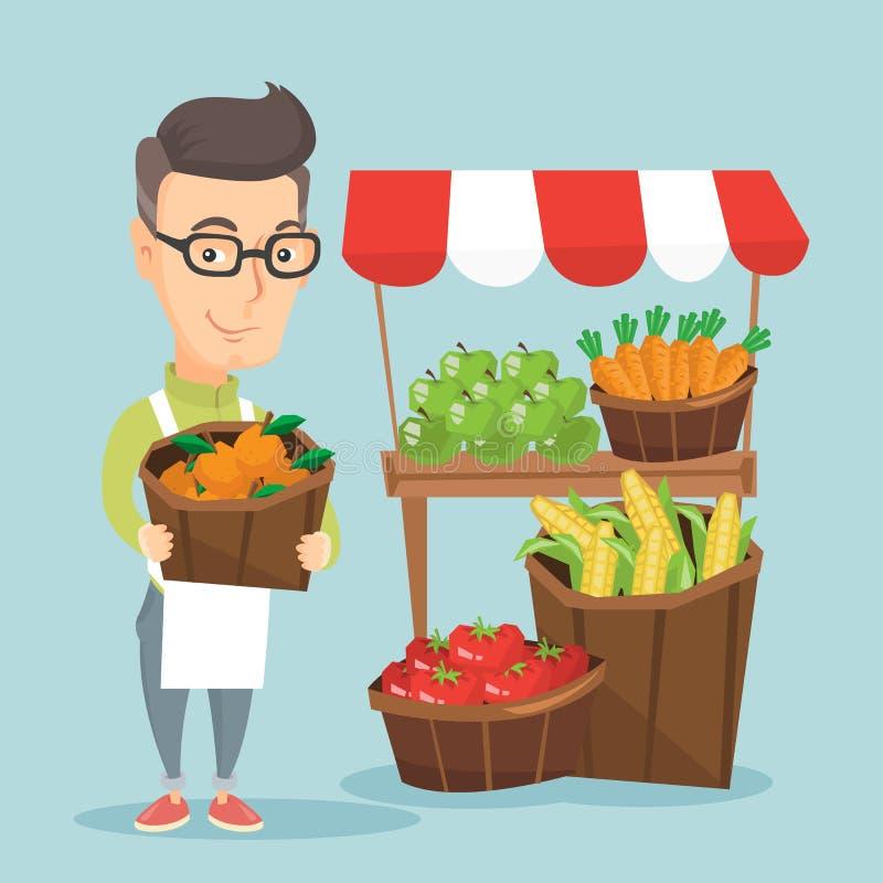 Straatverkoper met vruchten en groenten vector illustratie
