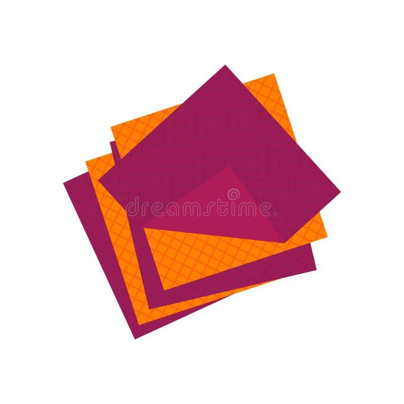 Straccio piano di logo dell'icona delle spugne di cellulosa isolato su fondo bianco Pulisca l'oggetto, strumento dell'attrezzatur illustrazione vettoriale