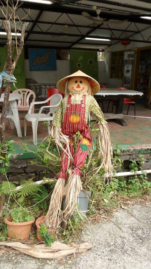 Strach na wróble pozycja na zewnątrz cukierniani powitalni goście zdjęcie royalty free