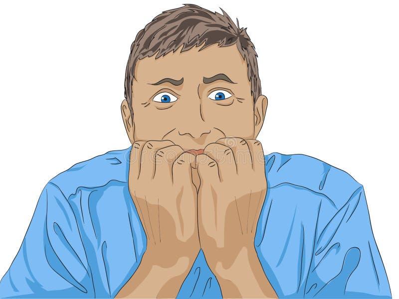 Strachu mężczyzna twarz może bać się głównego punkt w twój życiu ` t przerwa właśnie biega ilustracji