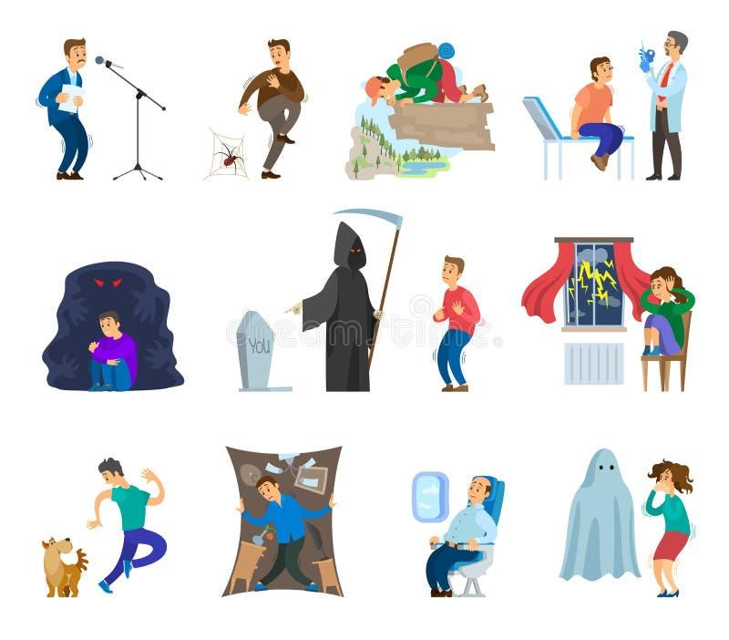 Strachy ludzie, mężczyzna i kobieta Strasząca emocja, ilustracja wektor
