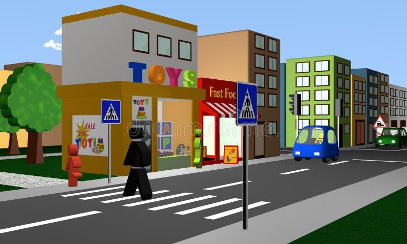 Strada affollata con un passaggio pedonale ed i negozi immagine stock libera da diritti