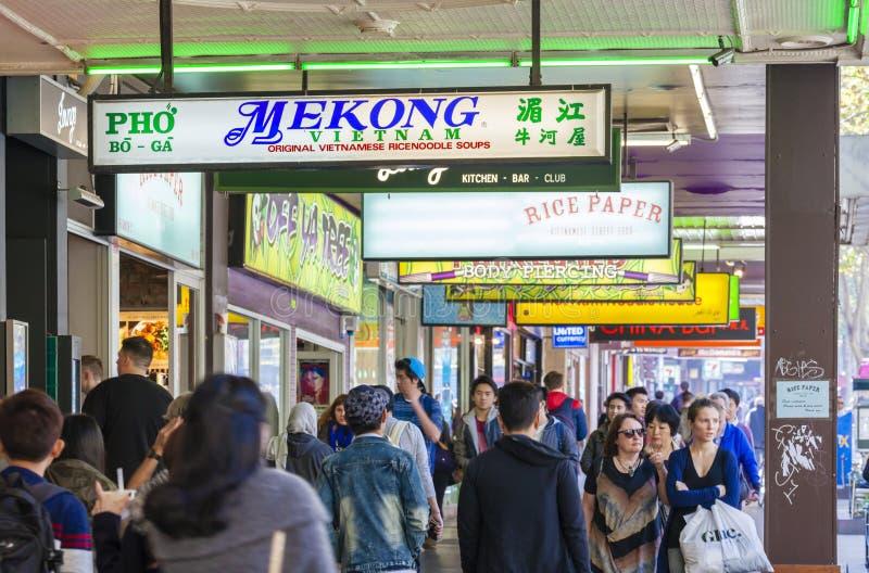 Strada affollata a Melbourne del centro fotografia stock