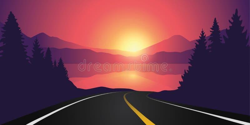Strada al lago nella foresta ad alba con il paesaggio della montagna illustrazione di stock