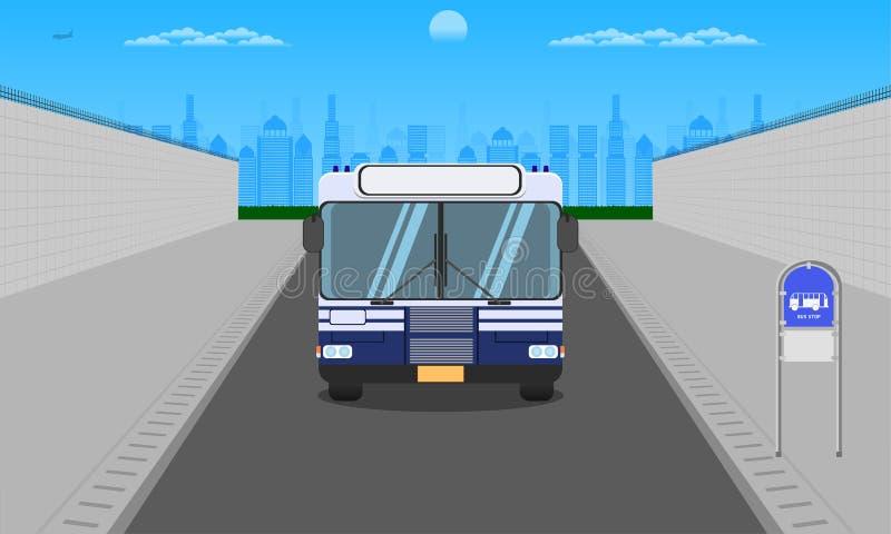 Strada all'aperto nella fermata dell'autobus blu scuro di vista frontale del cielo della città all'illustrazione orizzontale eps1 illustrazione di stock
