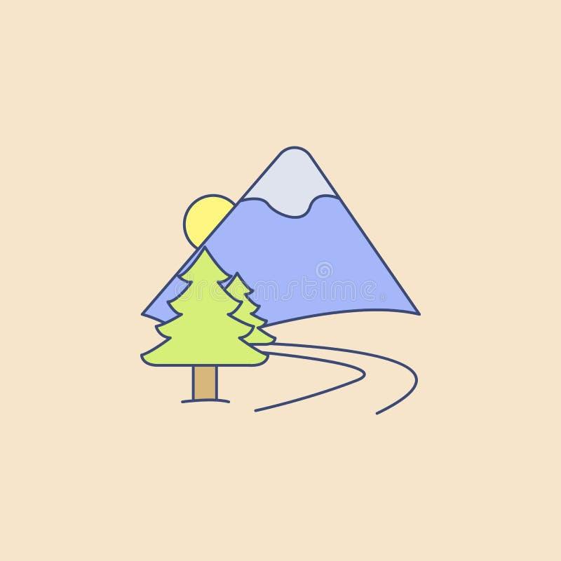 strada all'icona del profilo del giacimento delle montagne Elemento dell'icona all'aperto di ricreazione per i apps mobili di web illustrazione vettoriale