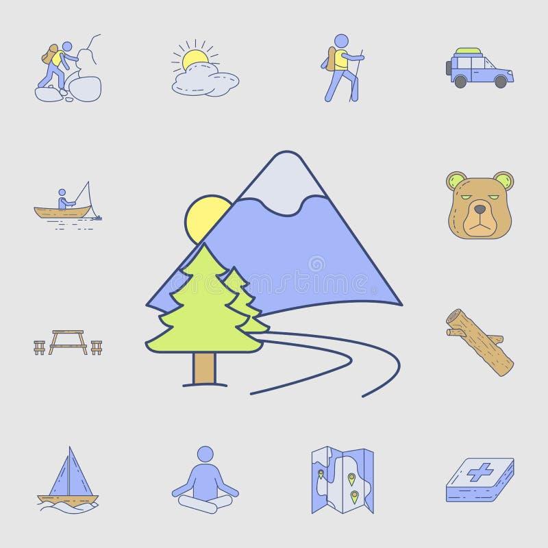 strada all'icona delle montagne Insieme dettagliato delle icone di campeggio dello strumento di colore Progettazione grafica prem royalty illustrazione gratis