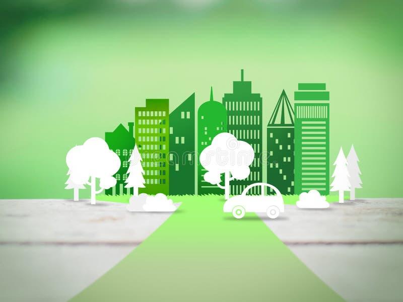 Strada alla città di eco illustrazione vettoriale