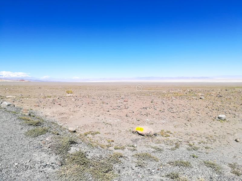 Strada alla riserva naturale del fenicottero, Cile immagine stock libera da diritti
