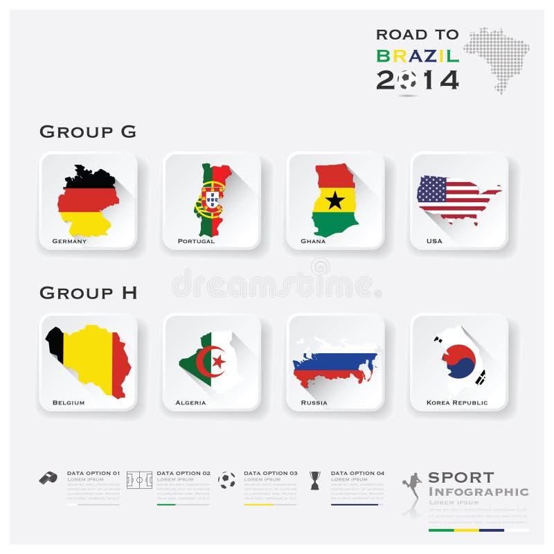 Strada allo sport 2014 di torneo di calcio del Brasile Infographic royalty illustrazione gratis