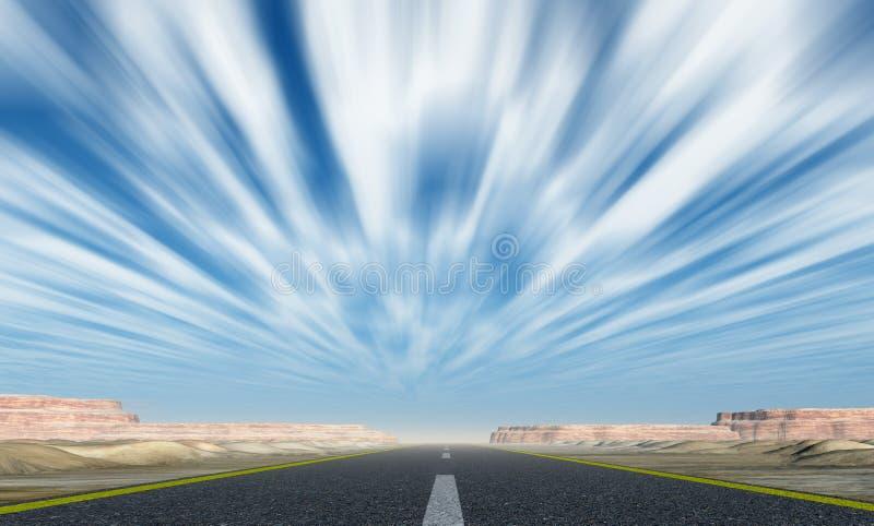 Strada asfaltata con le nubi di movimento illustrazione di stock