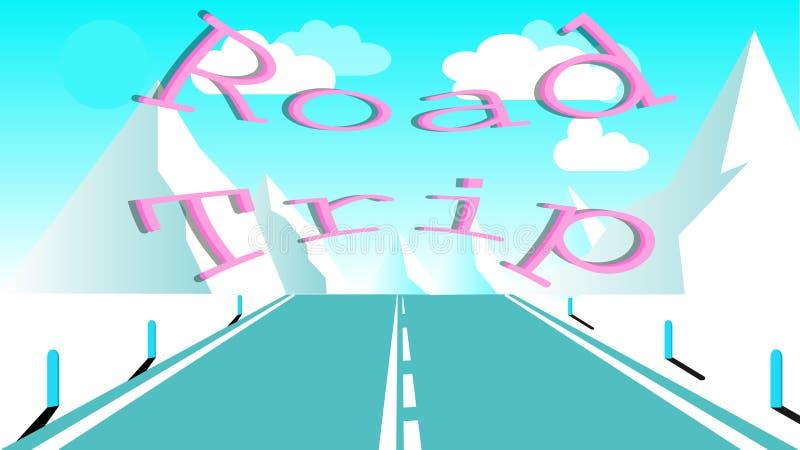 Strada asfaltata con un divisorio mediano per il viaggio alle alte montagne rocciose Viaggi alle montagne dal viaggio stradale de illustrazione di stock