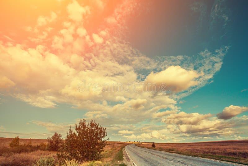 Strada asfaltata nella steppa fotografia stock libera da diritti