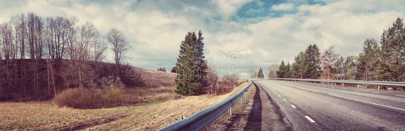Strada asfaltata nera sulla molla soleggiata da fotografie stock libere da diritti