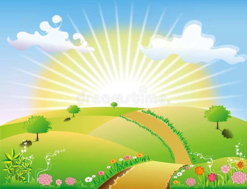 Strada astratta del cielo del sole di paesaggio della natura fotografia stock