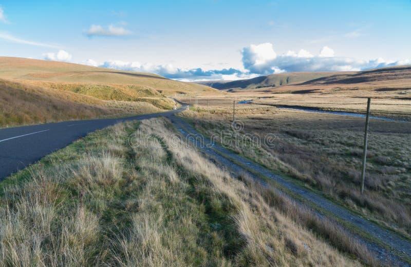 Strada attraverso la regione selvaggia erbosa britannica, uguagliante fotografia stock libera da diritti