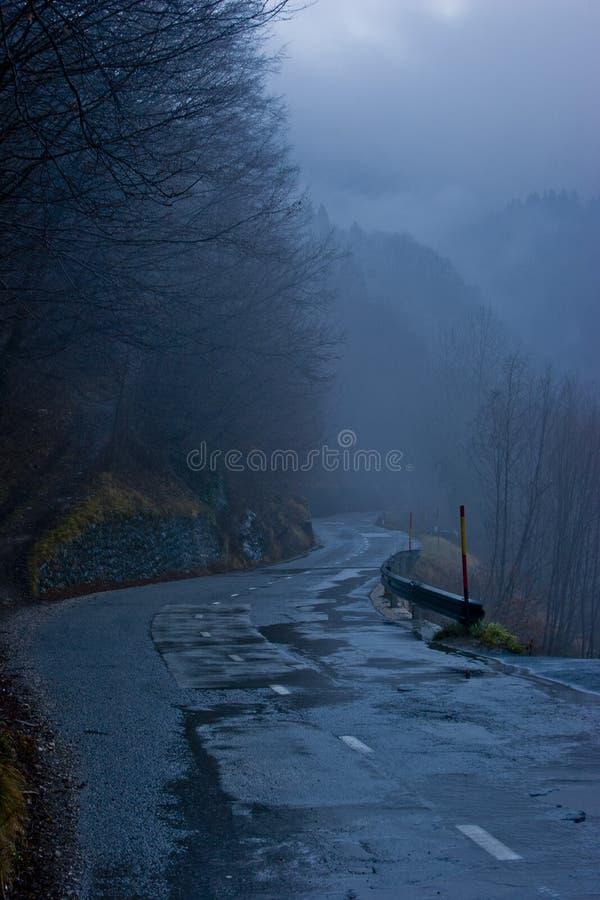 Strada bagnata della montagna al crepuscolo
