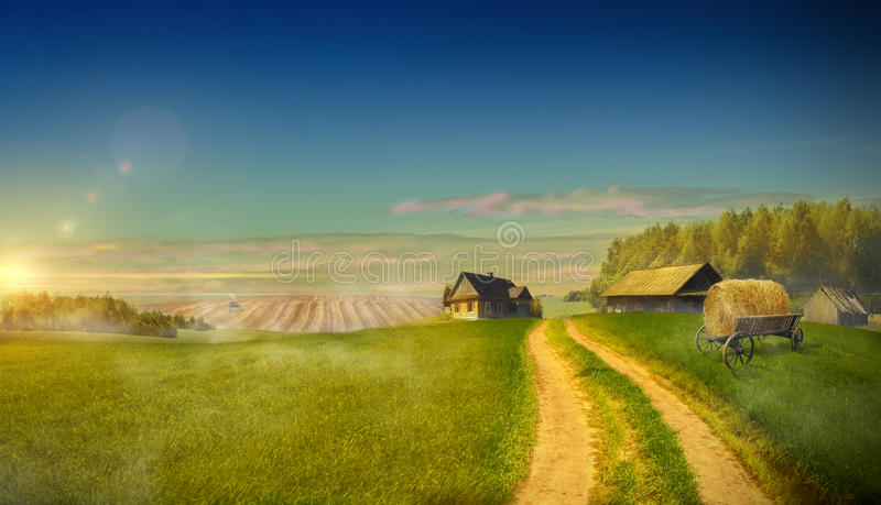Strada campestre nel campo che conduce alle tenute dell'azienda agricola immagini stock