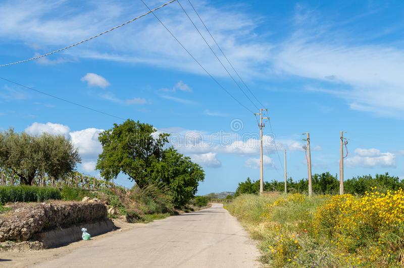 Strada campestre siciliana, Caltanissetta, Italia, Europa fotografie stock