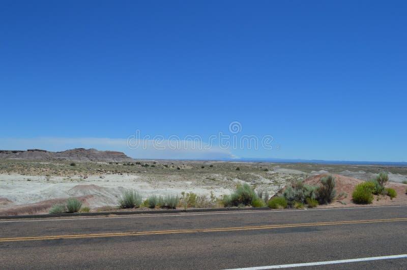Strada che attraversa Petrify National Forest Sandy Desert Crusty Surface Road fotografia stock libera da diritti