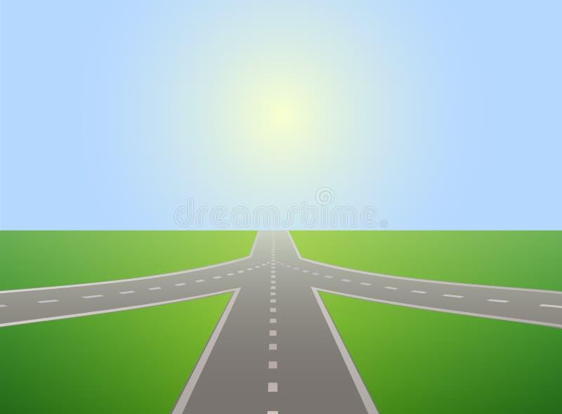 Strada che conduce all'orizzonte ed al cielo soleggiato illustrazione vettoriale