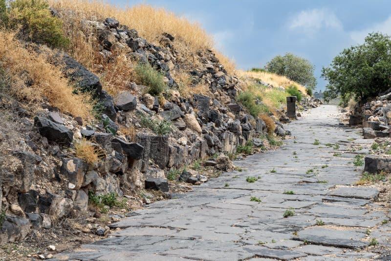 Strada Cobbled alle rovine del Greco - città romana dello III secolo BC - l'ANNUNCIO del VIII secolo Hippus - Susita su Golan Hei fotografie stock libere da diritti