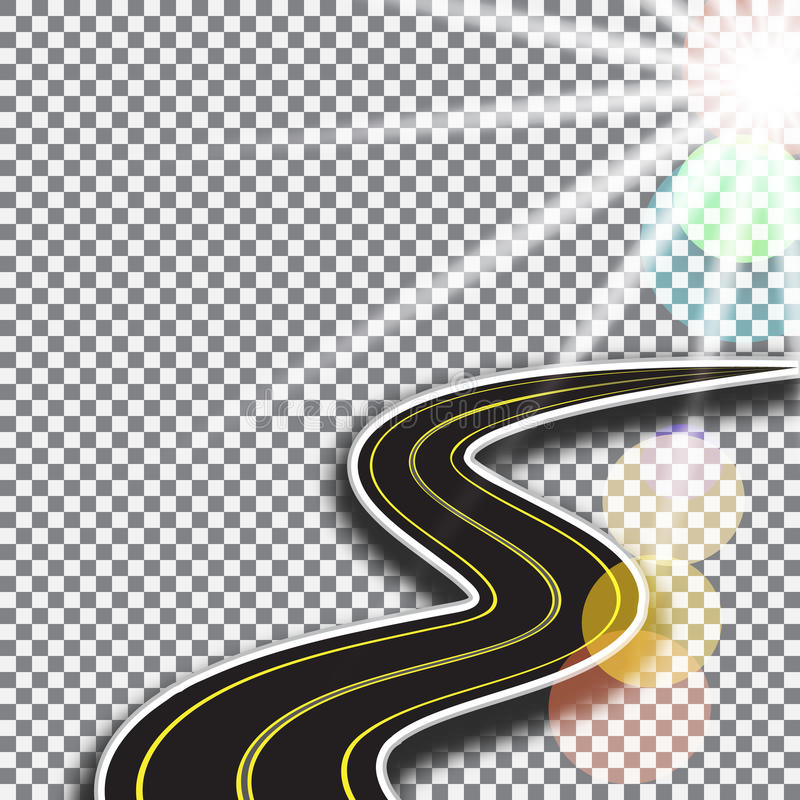 Strada con le marcature gialle, retrocedenti nella distanza 3d astratto sunlight Illustrazione royalty illustrazione gratis