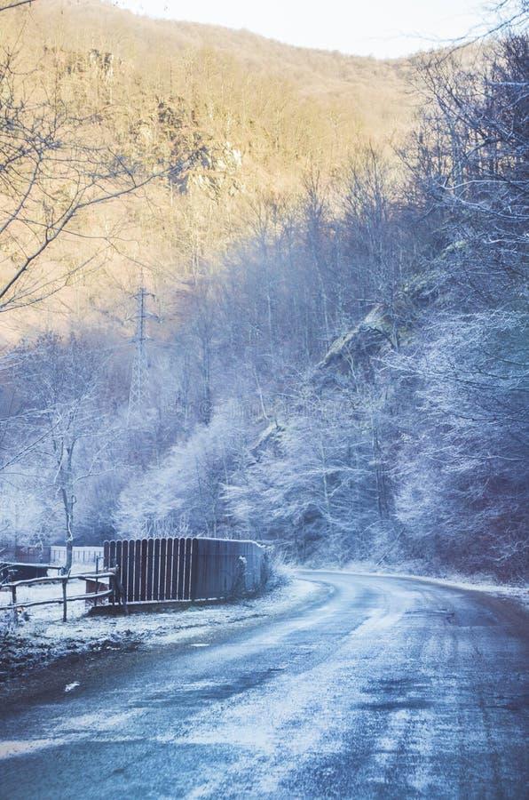 Strada congelata fotografie stock