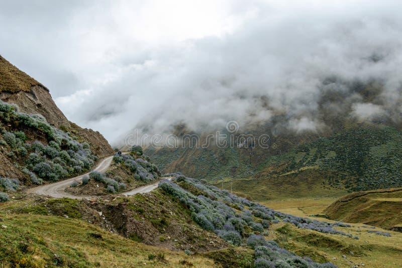 Strada curva in montagne nebbiose, Abra Mariano Llamoja, passaggio della montagna fra Yanama e Totora, il viaggio di Choquequirao immagini stock libere da diritti