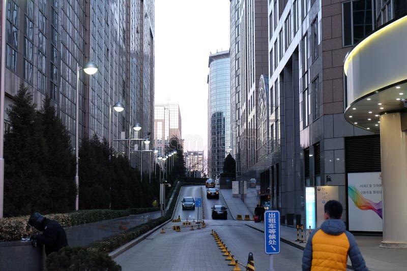 Strada dei negozi di Wangfujing nel centro di Pechino fotografia stock