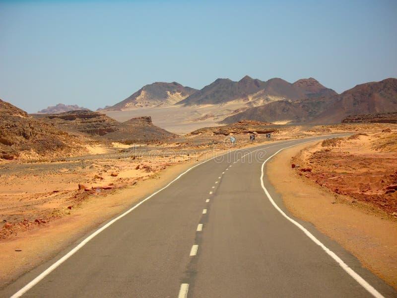 Strada del deserto nell'Egitto fotografie stock libere da diritti