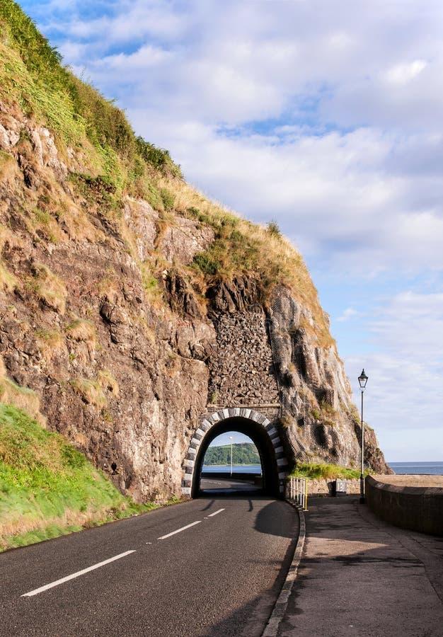 Strada della costa con il tunnel, Irlanda del Nord immagine stock