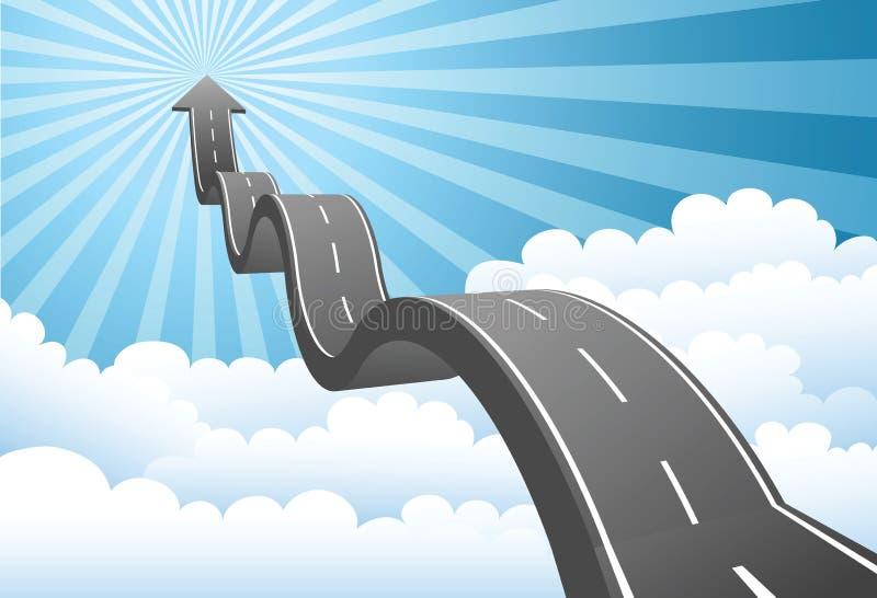 Strada della freccia attraverso la nube illustrazione di stock