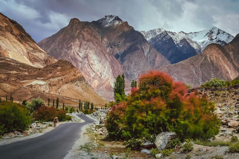 Strada della montagna a Chitral fotografie stock