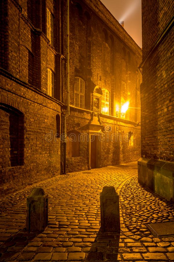 Strada della Plebania nella Città Vecchia di Danzica Polonia, Europa fotografia stock